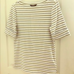 New Ralph Lauren Striped Boatneck Tee Size Large